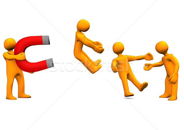 Appelleren mensen groot magneet oranje cartoon Stockfoto © limbi007