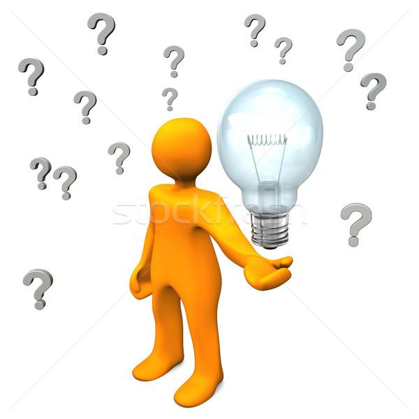 Сток-фото: вопросы · Идея · оранжевый · большой