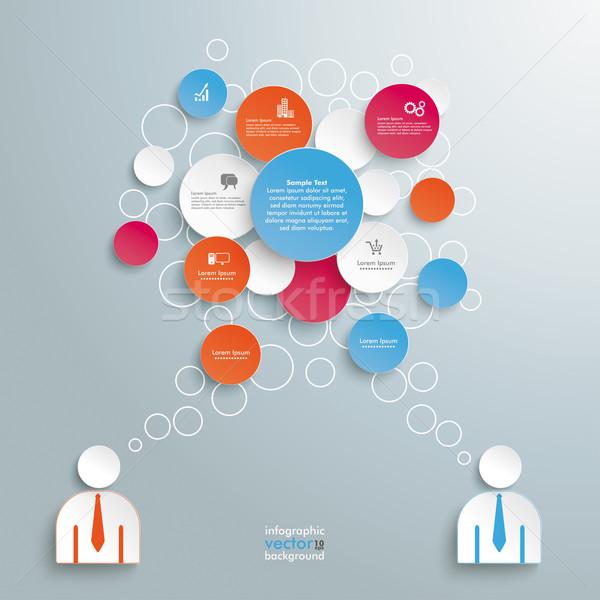 Colored Speech Bubble Circles 2 Businessmen Stock photo © limbi007