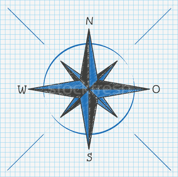 Checked School Paper Compass  Stock photo © limbi007
