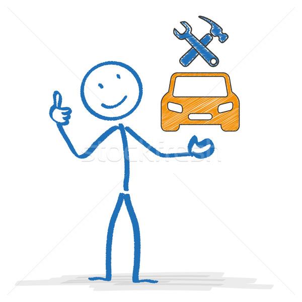 Naprawa samochodów sklep samochodu narzędzia symbolika Zdjęcia stock © limbi007