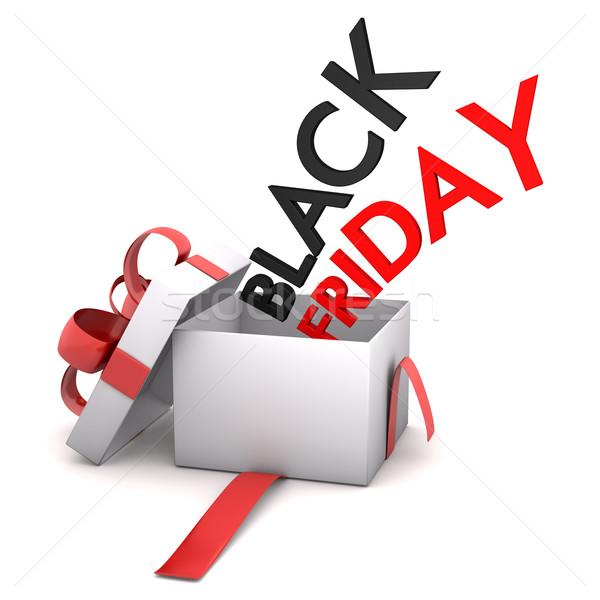 Dom cartão black friday caixa de presente texto Foto stock © limbi007