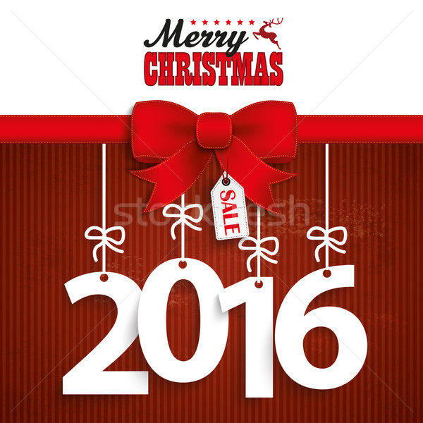 Red Ribbon Christmas Price Sticker 2016 Stock photo © limbi007