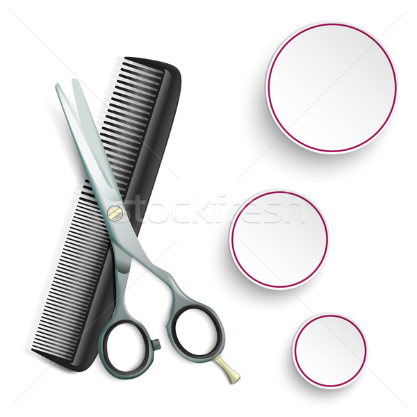Scissors Comb 3 Circles Stock photo © limbi007
