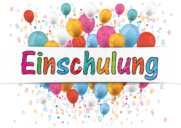Banner Balloons Letters Numbers Einschulung Stock photo © limbi007