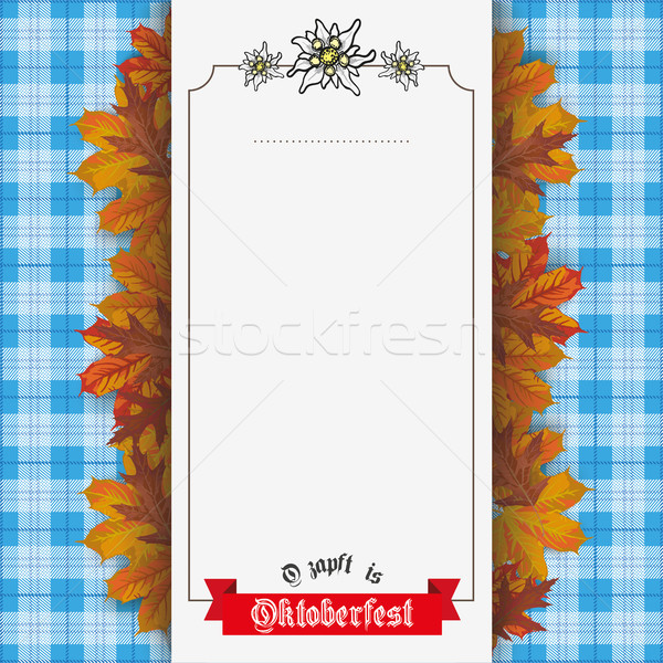 Oktoberfest Foliage Checked Blanket Banner Ribbon Stock photo © limbi007