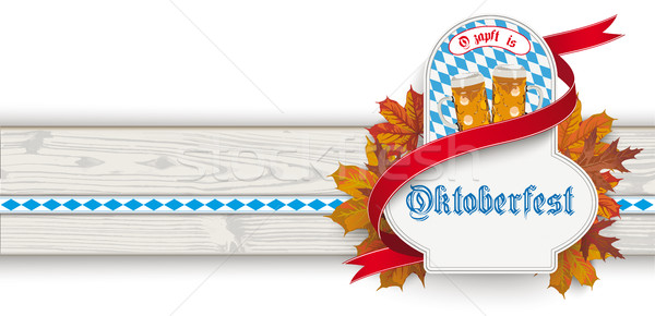 Oktoberfest Header Wooden Banner Ribbon Emblem Foliage Stock photo © limbi007