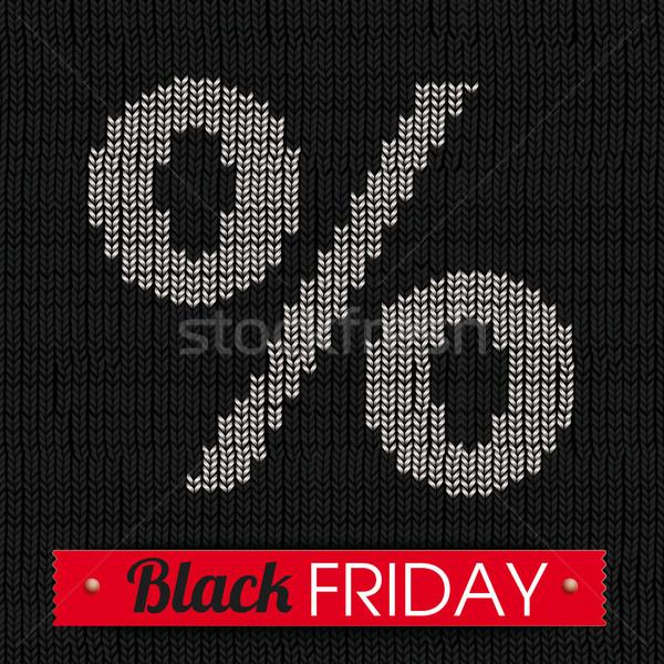 Black Knitting Fabric Black Friday Percent Red Ribbon Stock photo © limbi007