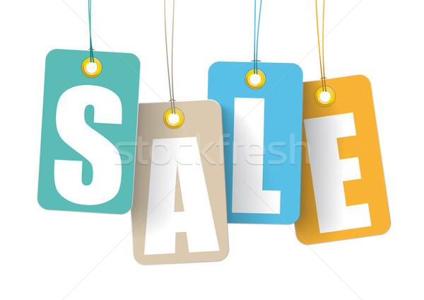 4 Colorful Price Sticker Sale White Background Stock photo © limbi007