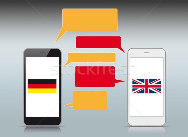 Zwart wit smartphones Engels Duitsland vlaggen Stockfoto © limbi007