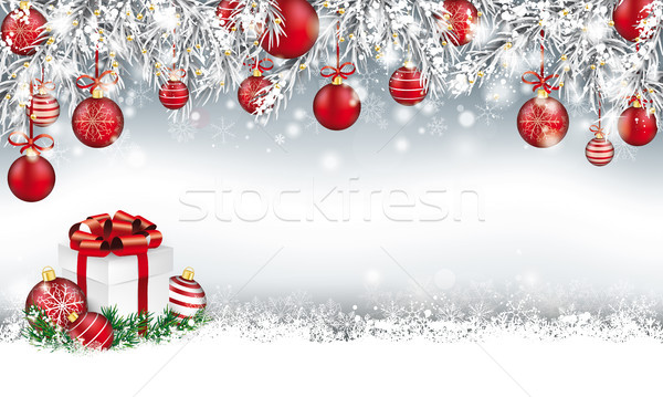 Christmas Header Twigs Red Baubles Gift Stock photo © limbi007