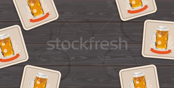 Dark Wooden Background Beer Coasters Centre Stock photo © limbi007