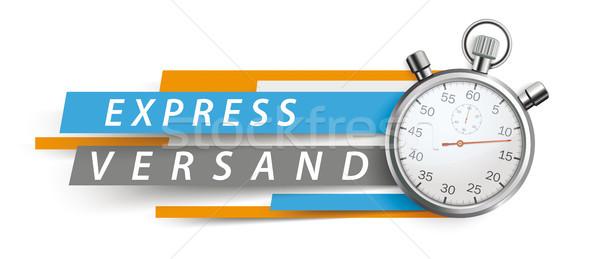 Express Versand Stopwatch Blue Orange Paper Lines White Header Stock photo © limbi007