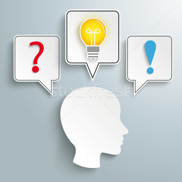 Human Head Speech Bubbles Question Bulb Answer Stock photo © limbi007
