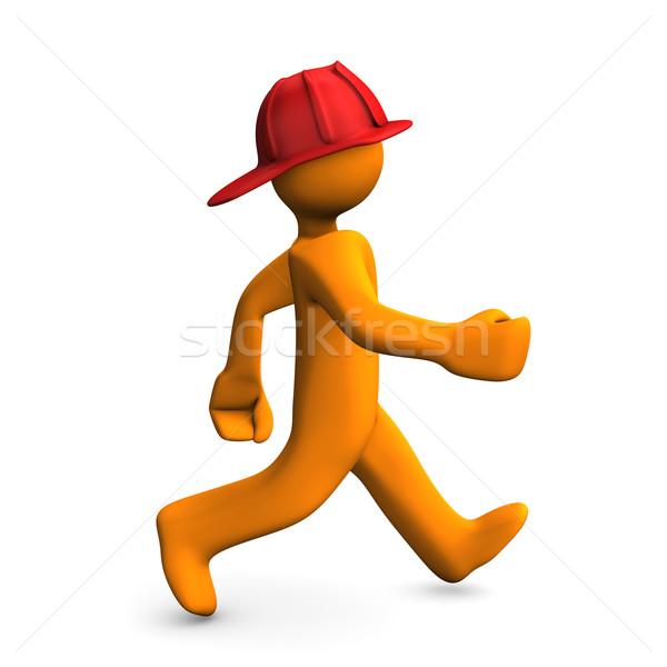Feuer Benachrichtigung orange Zeichentrickfigur weiß Frau Stock foto © limbi007