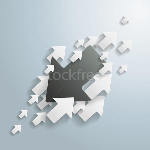 Zwart wit pijlen oppositie grijs eps 10 Stockfoto © limbi007