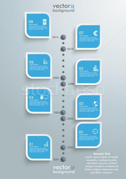 Idővonal infografika terv felhők szürke eps Stock fotó © limbi007