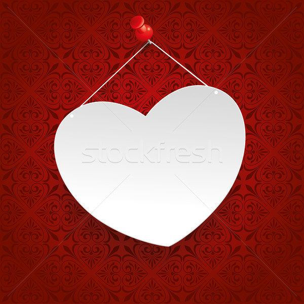 Square Ornaments White Heart Tack Stock photo © limbi007