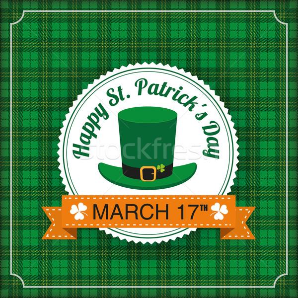 St. Patricks Day Vintage Tartan Cover Big Emblem Stock photo © limbi007
