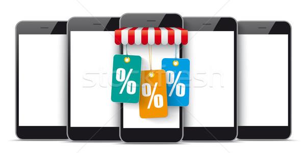 5 Black Smartphones Shop Marquee Price Stickers Percent Stock photo © limbi007