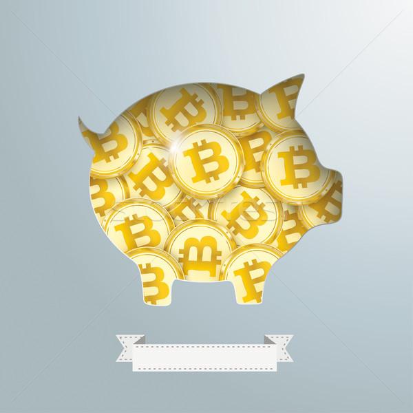 Stock fotó: Persely · arany · bitcoin · érmék · terv · és