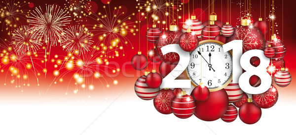 Hanging Red Baubles Christmas Clock 2018 Header Fireworks Stock photo © limbi007