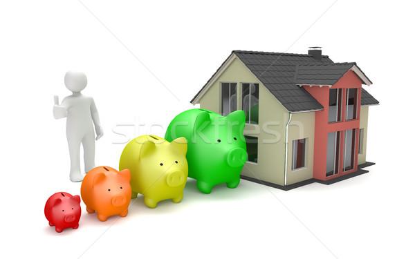 Stock photo: Manikin Piggy Bank Chart House