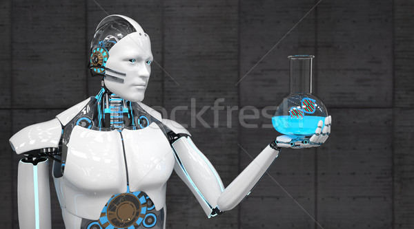 Branco robô test tube dna ilustração 3d médico Foto stock © limbi007