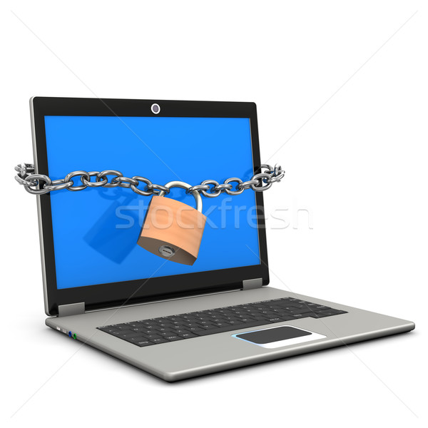 Portátil seguridad azul Screen cadena candado Foto stock © limbi007