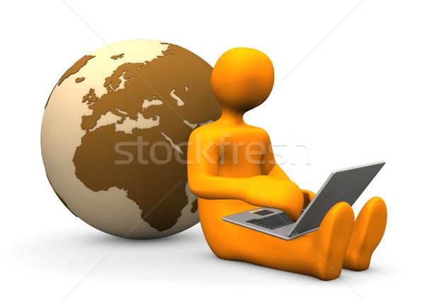 Manikin Laptop Globe Stock photo © limbi007