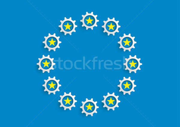 EU Flag GEars Stock photo © limbi007