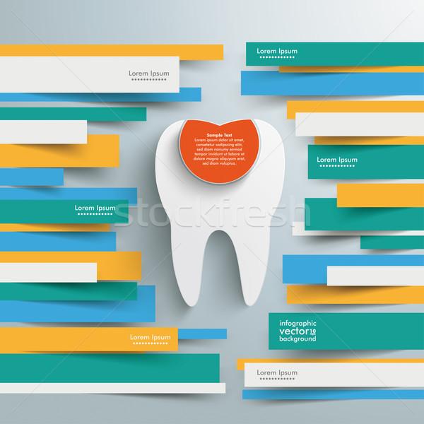 Foto d'archivio: Infografica · brochure · carta · linee · dente · riempimento