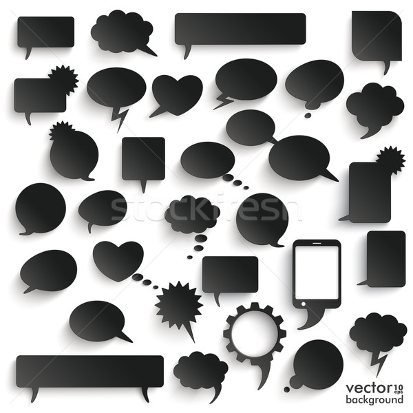 Big Set Black Paper Communication Bubbles Shadows Stock photo © limbi007