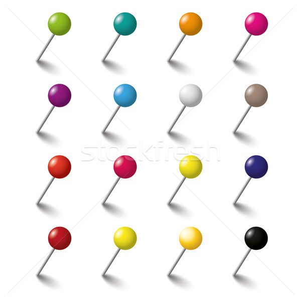 16 Colored Tacks Set Stock photo © limbi007