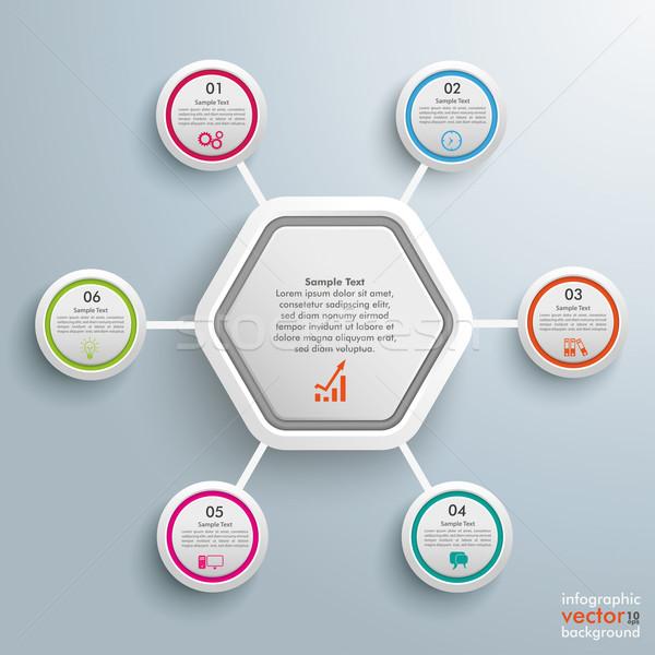 шестиугольник Круги дизайна серый прибыль на акцию Сток-фото © limbi007