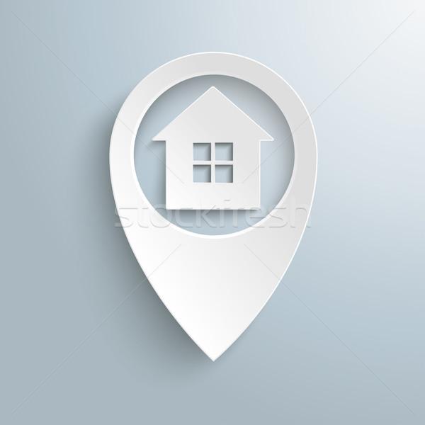 Biały lokalizacja znacznik domu okno Zdjęcia stock © limbi007