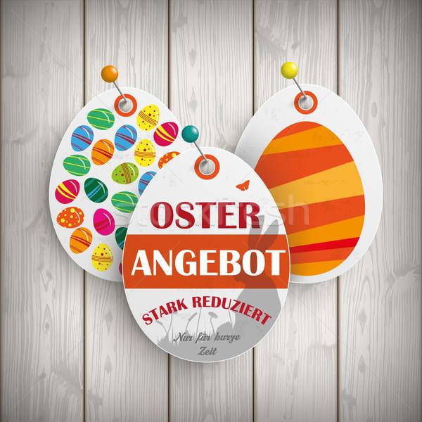 Osterangebot Eggs Price Stickers Pins Stock photo © limbi007