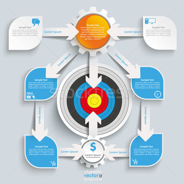 Paper Arrows Big Flowchart Infographic Target Stock photo © limbi007