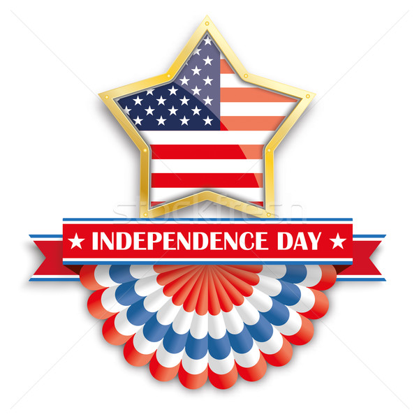 Stock photo: Independence Day Golden Star Bunting