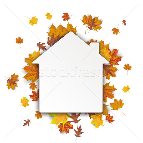 Papel casa outono branco eps Foto stock © limbi007