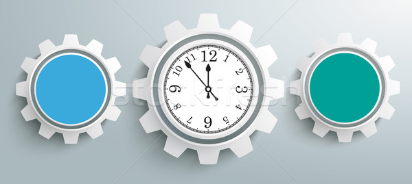 Stock photo: 3 Colored Gears Infographic Header Clock