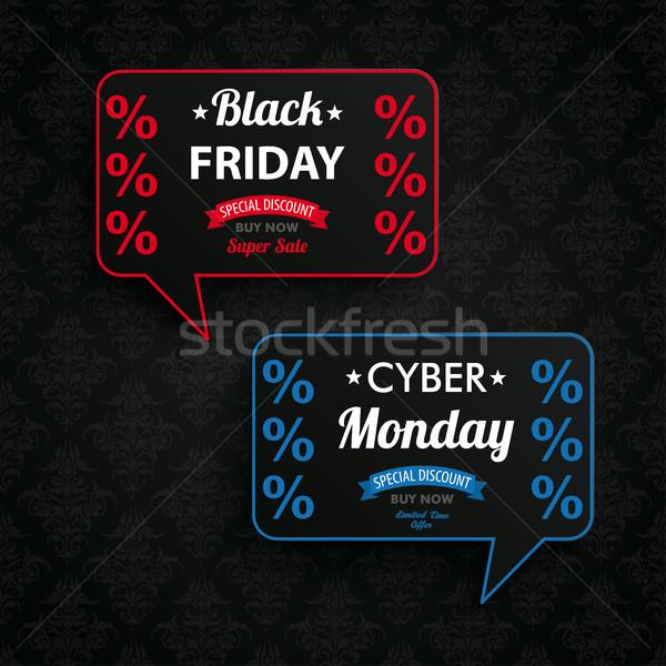 Black Friday Cyber Monday Ornaments 2 Speech Bubbles Stock photo © limbi007