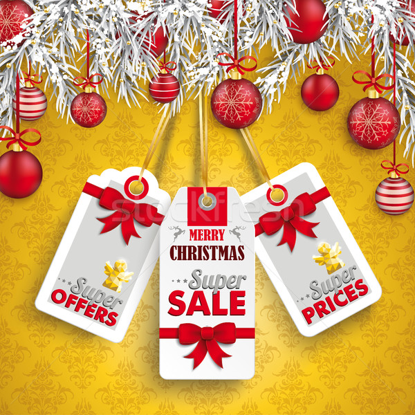 Christmas Ornaments Baubles Twigs 3 Price Stickers Stock photo © limbi007