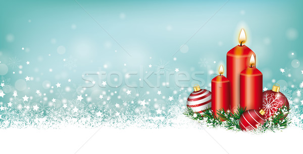 Cyan Christmas Card Header Snowflakes Candles Baubles Stock photo © limbi007