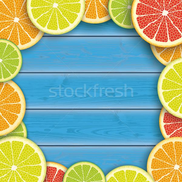 Blauw hout centrum citrus vruchten houten Stockfoto © limbi007