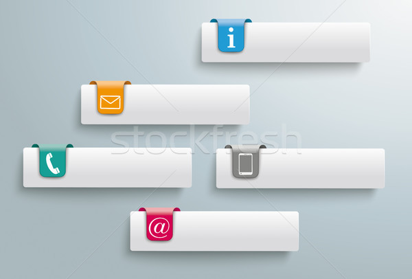 5 Tabs Colored Markers Contact Icons Stock photo © limbi007