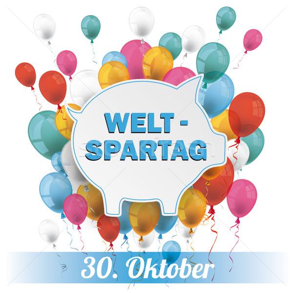 Blue Piggy Bank Weltspartag 30 Oktober Balloons Banner Stock photo © limbi007