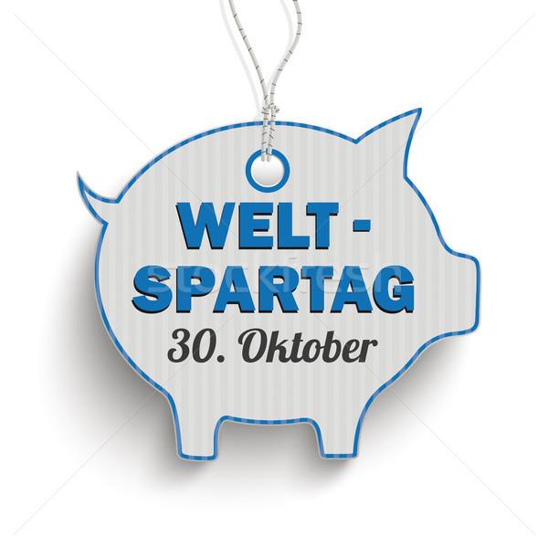 Price Sticker Blue Piggy Bank Weltspartag 30 Oktober Stock photo © limbi007