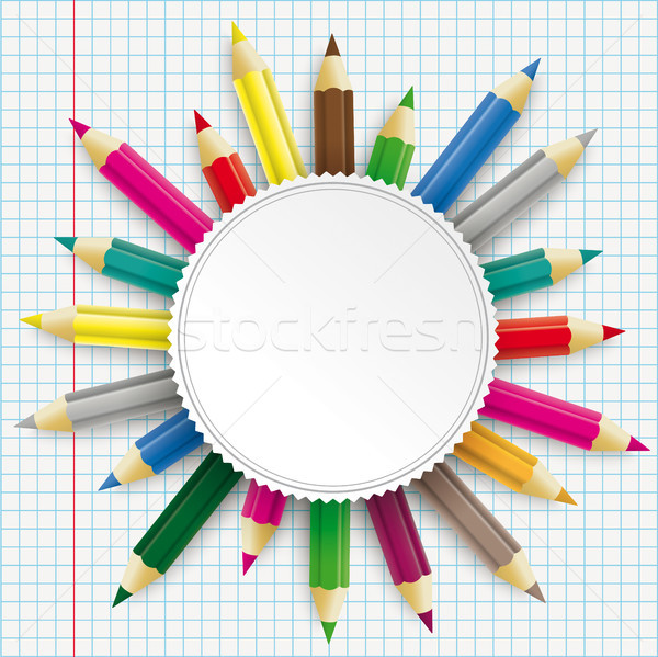Colored Pencils Emblem Checked Paper Stock photo © limbi007
