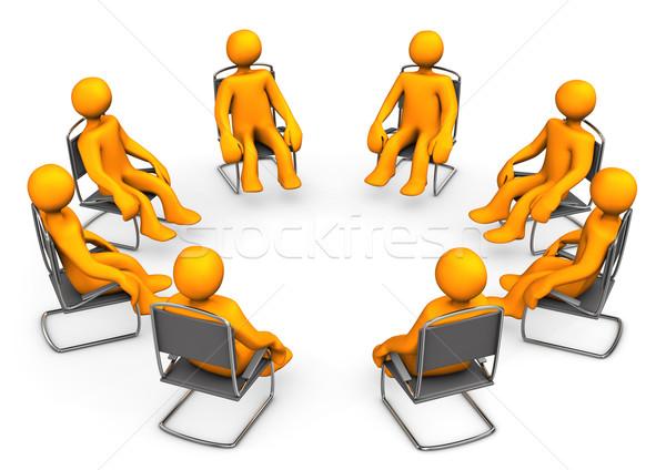 Terápia narancs rajz székek fehér nő Stock fotó © limbi007
